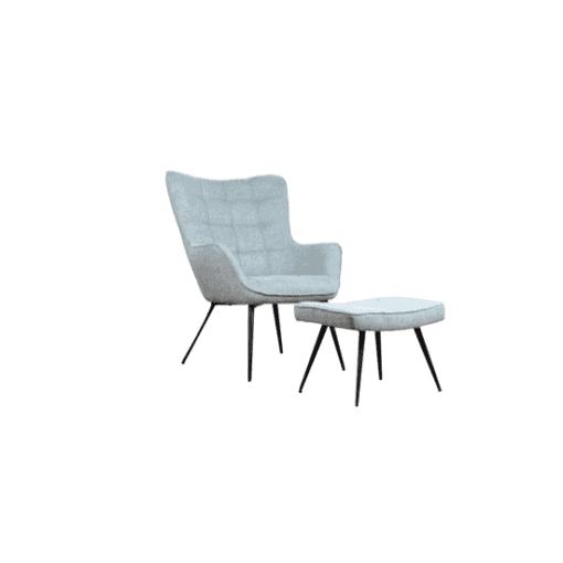 כורסא מעוצבת דגם אשלי בתכלת מעושן