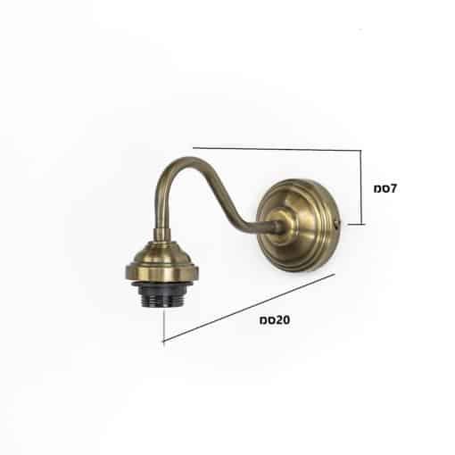 מידות בסיס מנורת קיר פליז